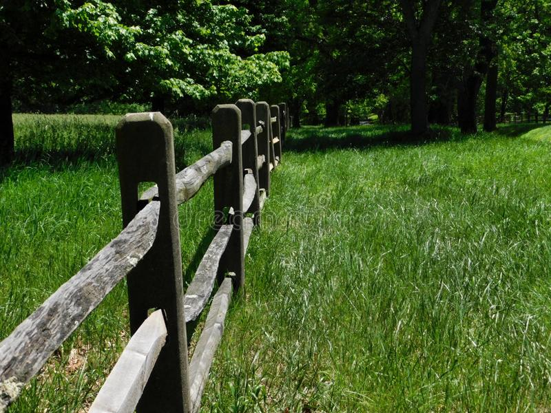 Wooden fence in a meadow in northern Delaware. Wooden fence in a meadow among trees in northern Delaware royalty free stock images