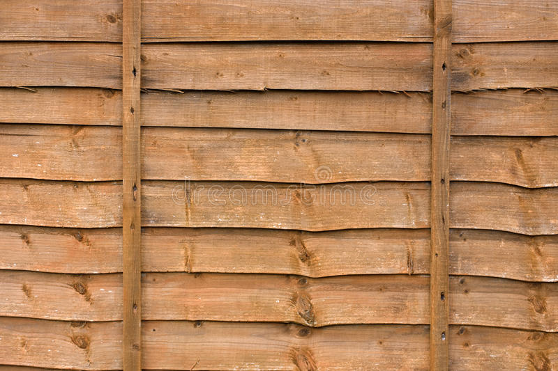 Wooden fence panel. Close up of a wooden fence panel stock photo
