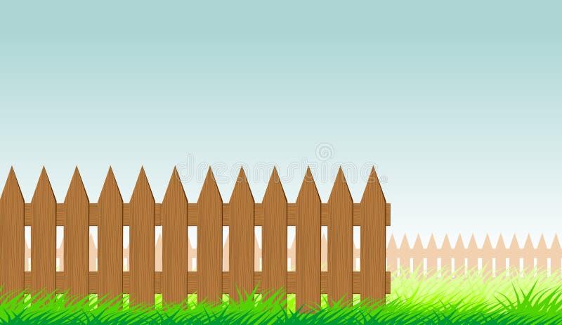 Wooden fence, summer grass stock illustration