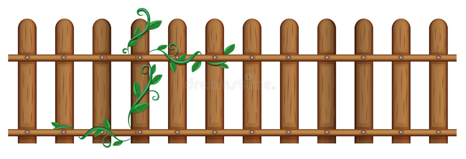 Wooden fence with vine vector illustration
