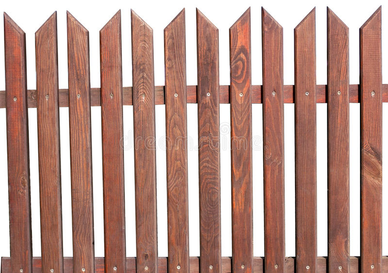 Wooden fence on a white background stock photo