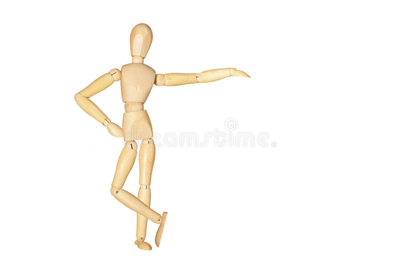Wooden figure. Posed as if leaning on something, with room for your text or images royalty free stock image