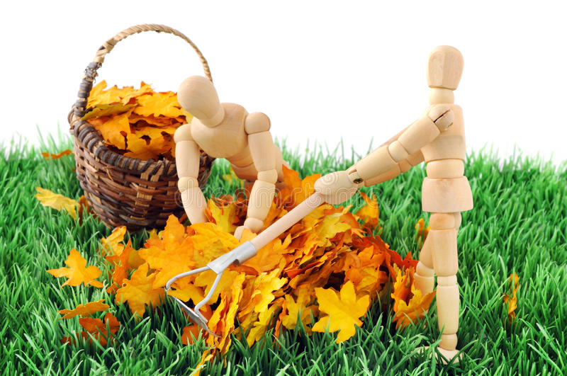 Wooden figure cleanup the garden from autumn leave.  royalty free stock image