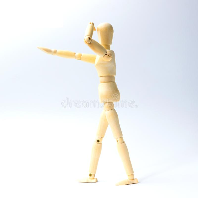 Wooden figure doll with looking emotion for success business con royalty free stock photography