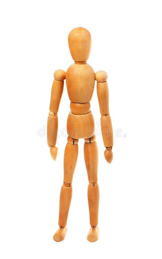 Wooden figure of man. Isolated on a white background royalty free stock image