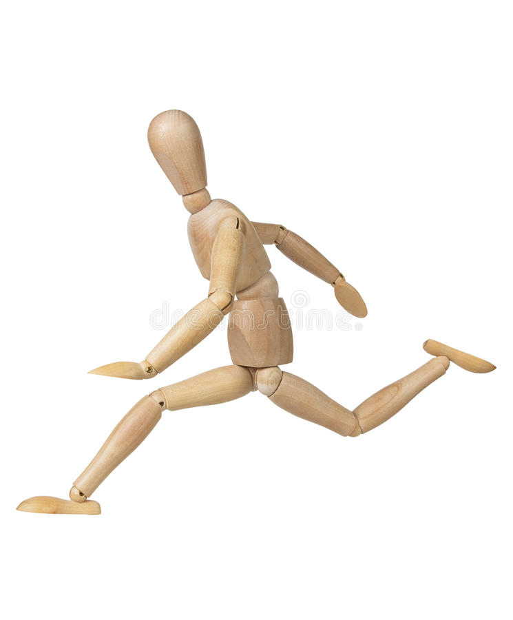 Wooden figure mannequin running royalty free stock images