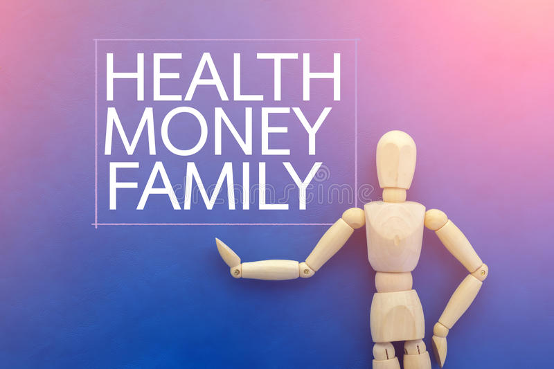 Wooden figure with word of health money and family. Business idea concept vector illustration