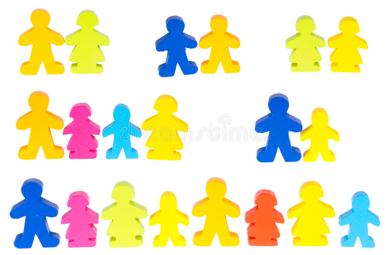 Download Wooden figures stock image. Image of girl, group, isolated - 24504403