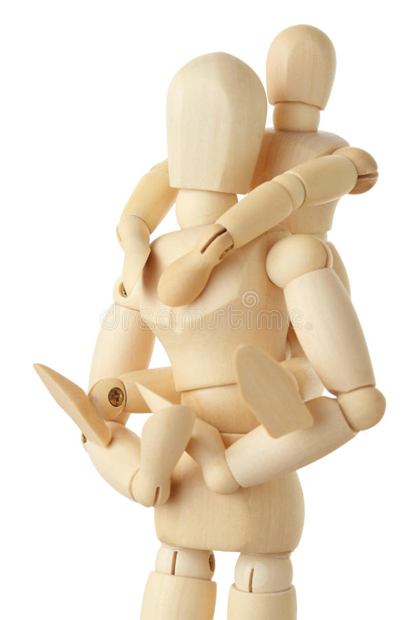 Wooden figures of child on back of his parent