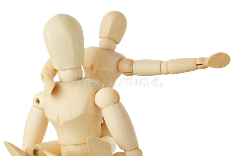 Wooden Figures Of Child Sitting On Back Of Parent Stock Photography