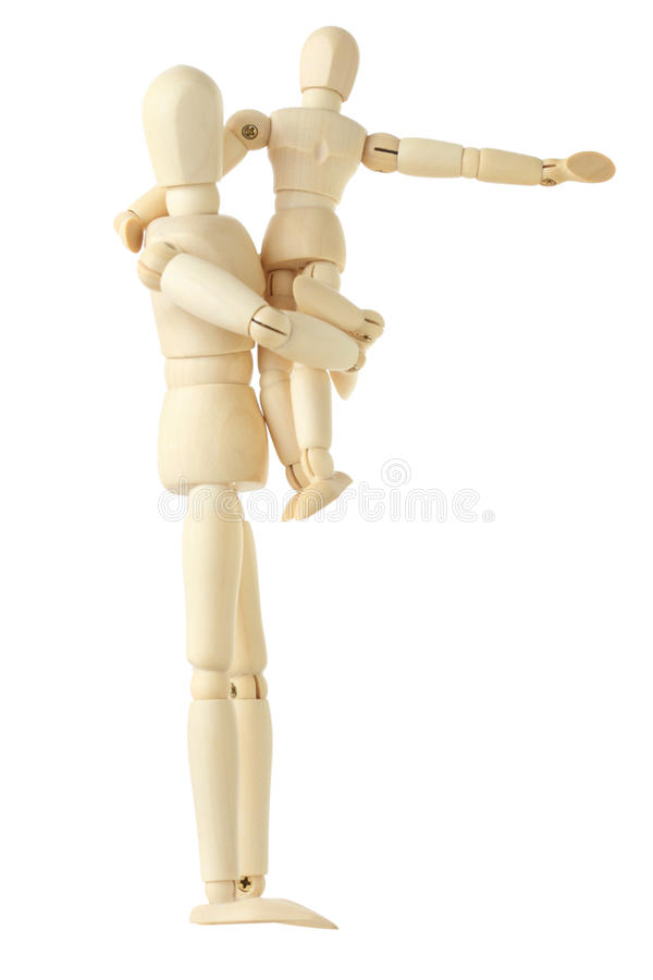 Download Wooden Figures Of Child Sitting On Hands Of Parent Stock Image - Image: 15690771