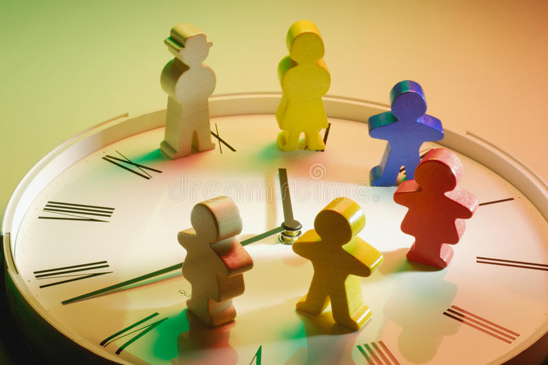 Download Wooden Figures on Clock stock image. Image of wooden - 21416201