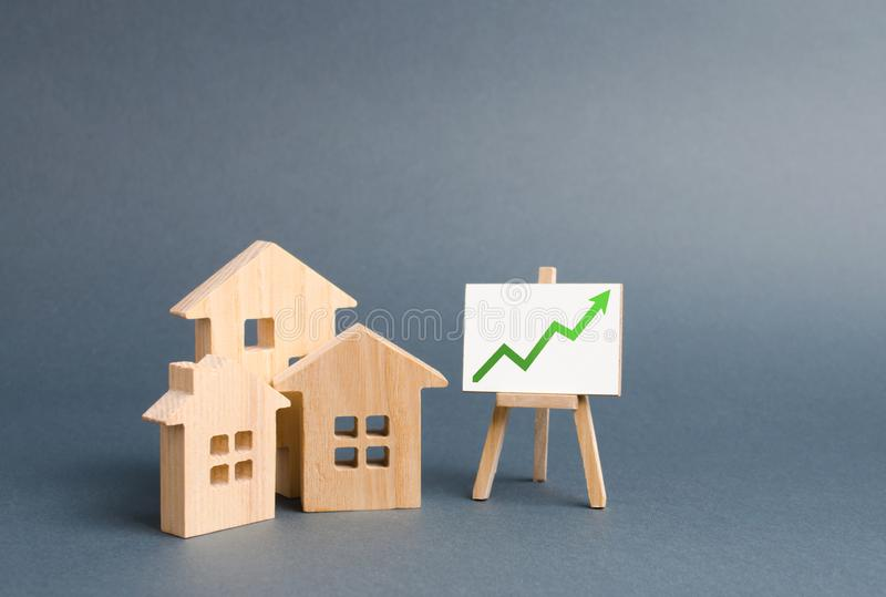 Wooden figures of houses and a poster with green arrow up. Increase liquidity and attractiveness of assets. Raising the rent. Or cost of buying a home.The royalty free stock images