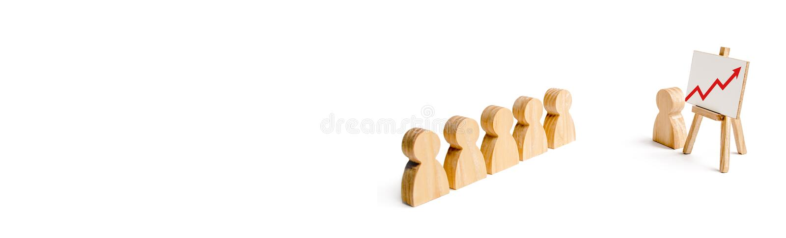 Wooden figures of people stand in the formation and listen to their leader. Business training, briefing and inspirational speech. vector illustration