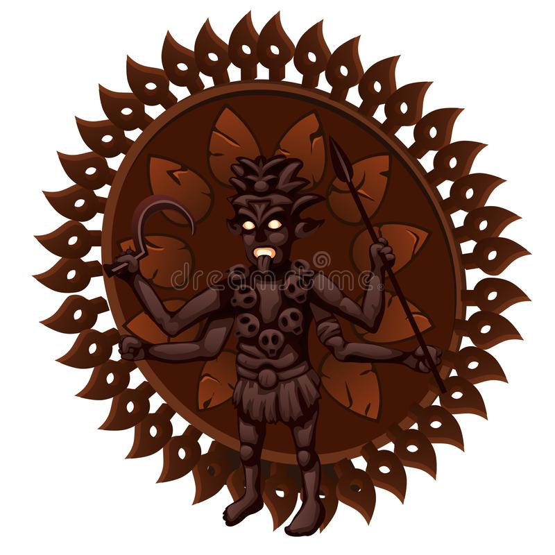 Wooden figurine with the Indian Hindu Goddess Kali Maa isolated on white background. Vector illustration. Wooden figurine with the Indian Hindu Goddess Kali Maa stock illustration