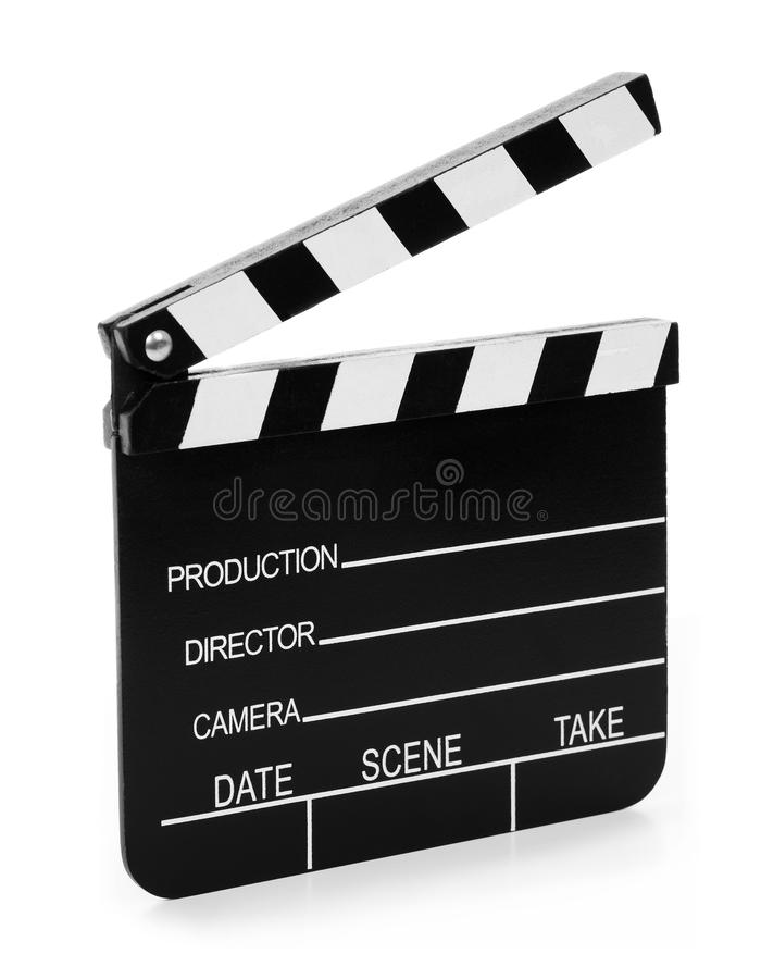 Wooden Film Slate. Real Vintage Wooden Film Slate isolated on white background royalty free stock photography