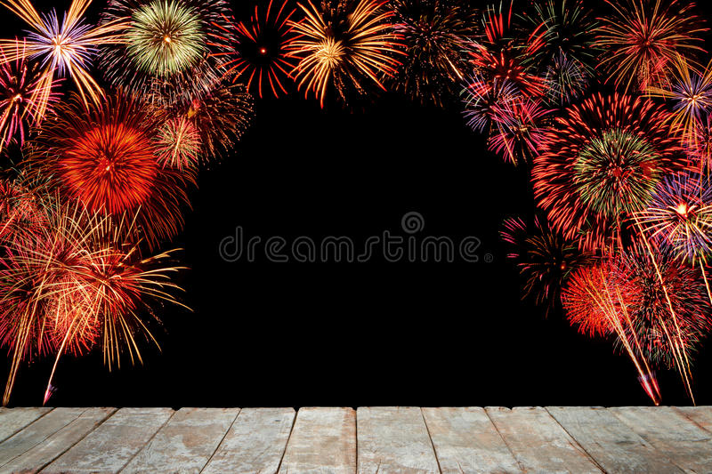 Wooden with fire work on black background. Wooden with fire work on black background stock image