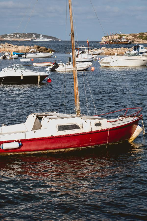 Wooden fishing boat without motor royalty free stock photography