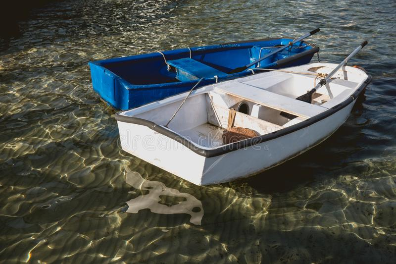 Wooden fishing boat without motor stock images