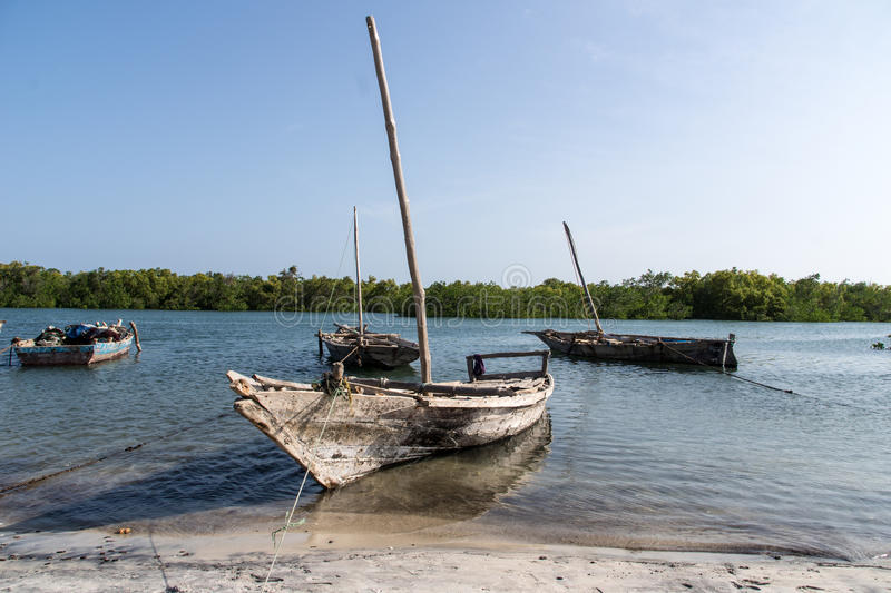 Wooden fishing boats in Tanzania, Africa stock photography