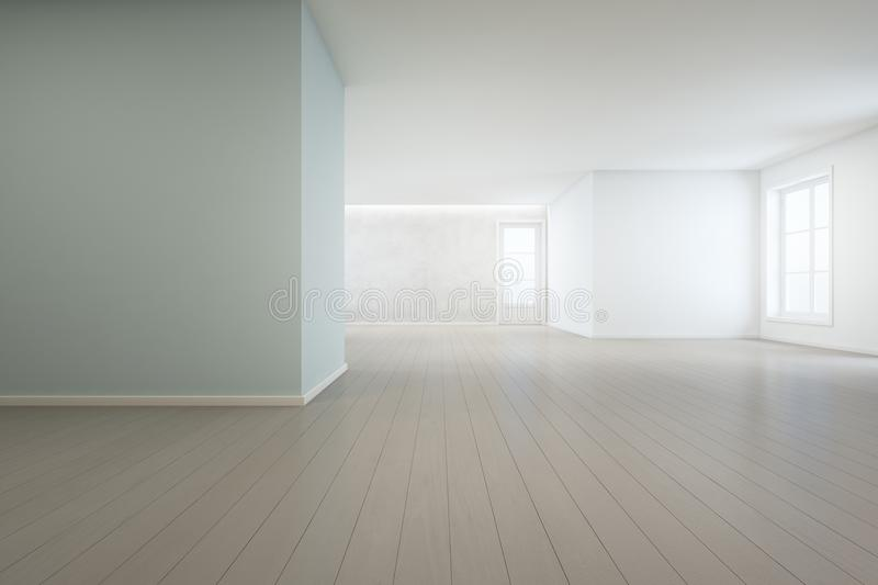 Wooden floor with blue concrete wall background in large room at modern new house for big family, White vintage window and door stock images