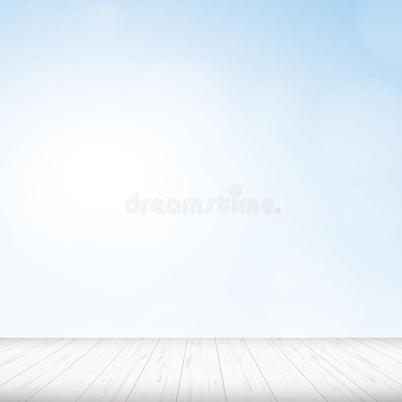 Wooden floor with blue sky background. stock illustration