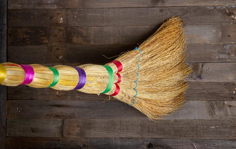 Wooden floor broom royalty free stock images