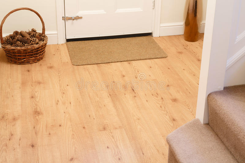 Wooden floor in entrance hall stock images