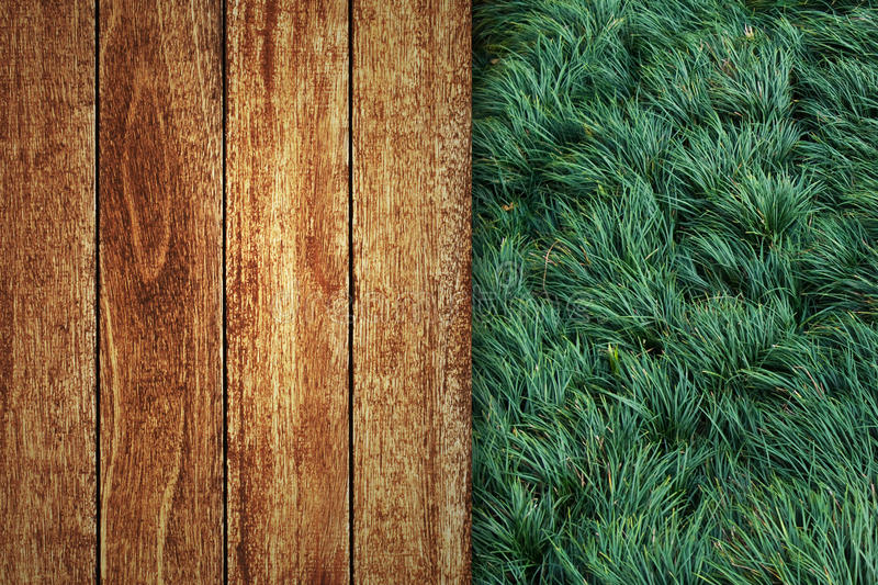 Download Wooden Floor With Green Grass Stock Image - Image: 18910027