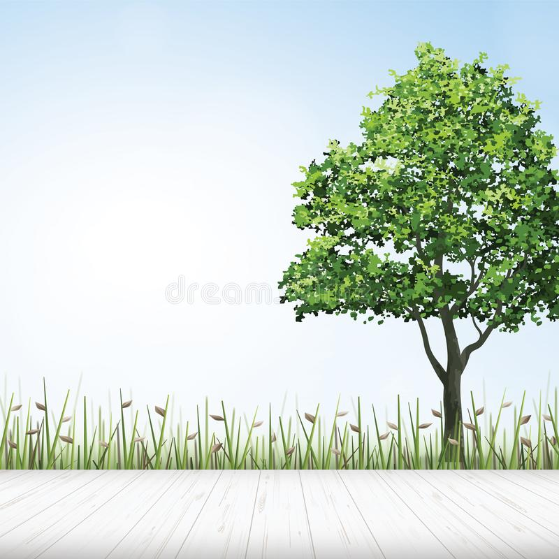 Wooden floor with green tree and green field background. Vector. Wooden floor with green tree and green field background. Vector illustration vector illustration