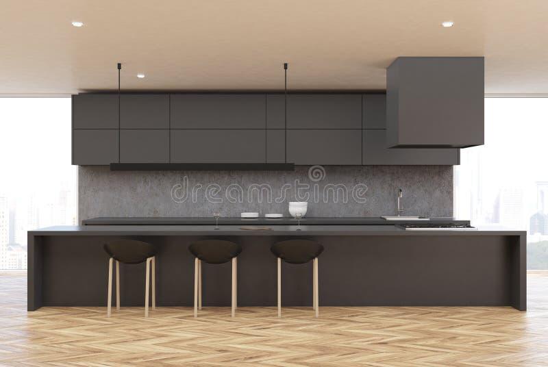 Wooden floor kitchen, gray table, front vector illustration