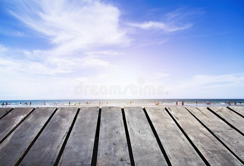Wooden floor by the sea stock photos