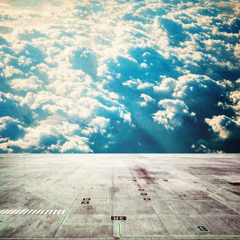 Wooden floor with sky background stock photos
