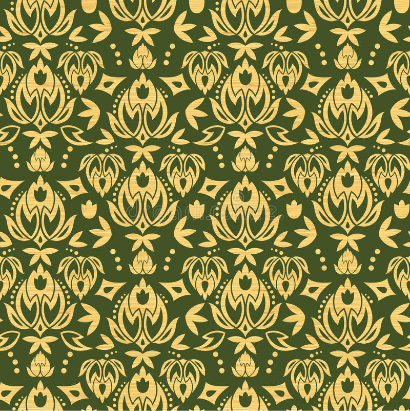 Wooden floral damask seamless pattern background