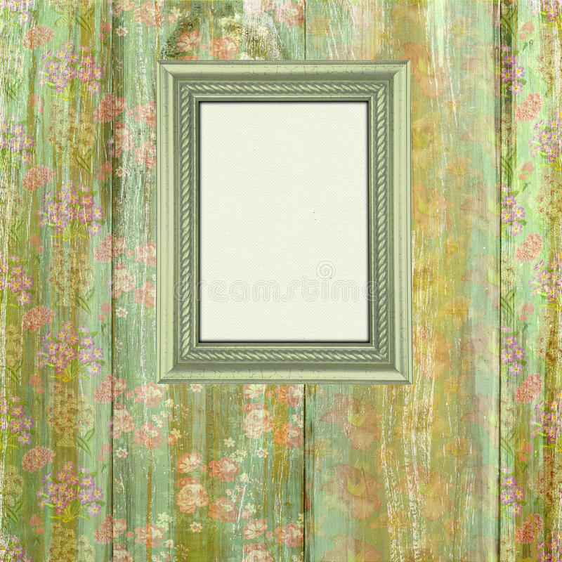 Wooden flower frame background. Wooden grungy flower frame background with space for your text or photo royalty free stock photos