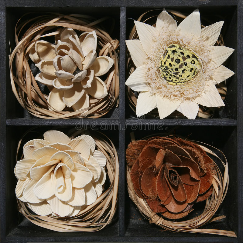 Wooden Flowers stock image