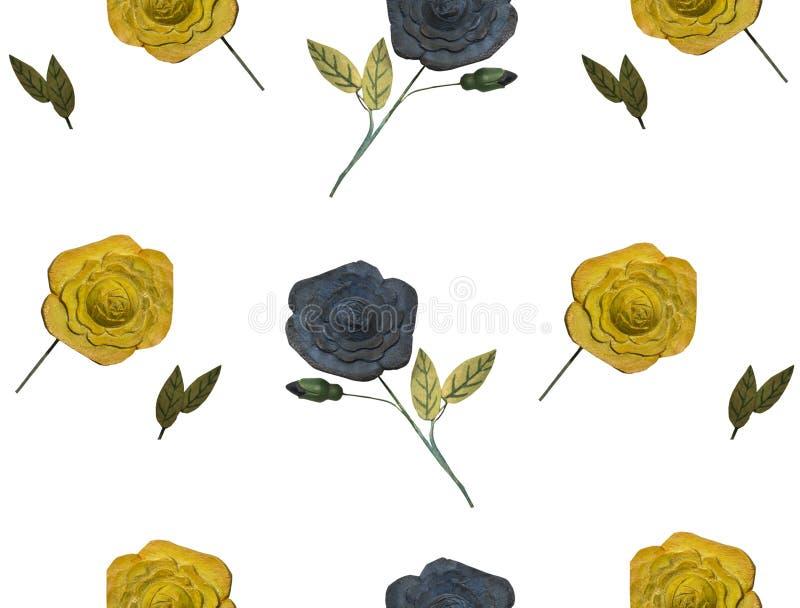 Wooden flowers on white. stock illustration