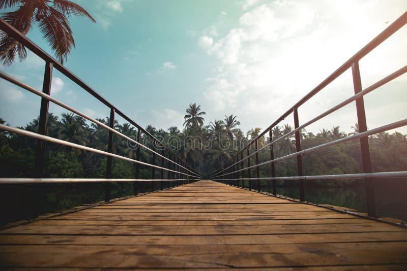 Wooden footbridge on river 印度乌杜皮南部美丽风景 免版税库存图片