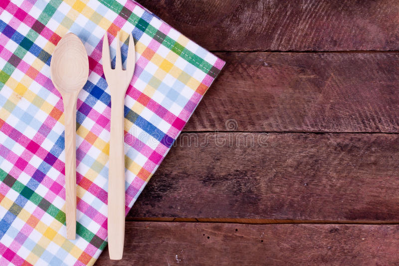 Wooden fork and spoon royalty free stock photo