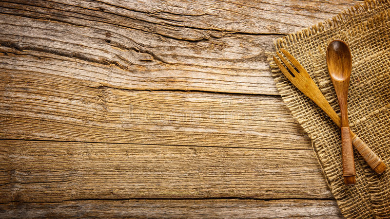 Wooden fork and spoon royalty free stock image