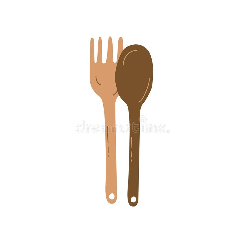 Wooden Fork and Spoon, Zero Waste Reusable Object, Eco lifestyle Concept Vector Illustratio. N on White Background vector illustration