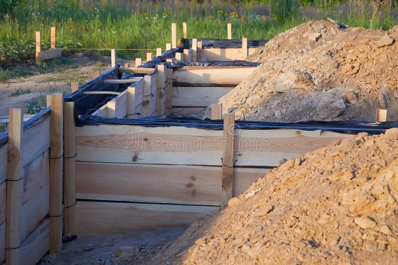 Wooden formwork concrete strip foundation for a cottage. Foundation site of new house, building, details and reinforcements with steel bars and wire rod stock photo