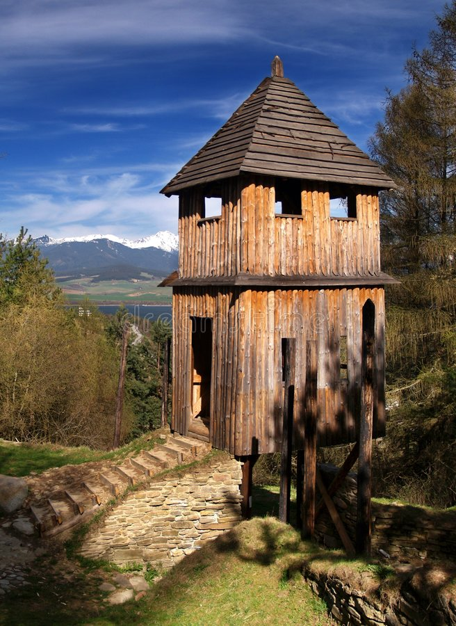 Wooden fortification. Reconstructed ancient wooden fortification in the outdoor archeological museum of Celtic culture located on Havranok hill near Liptovska stock image