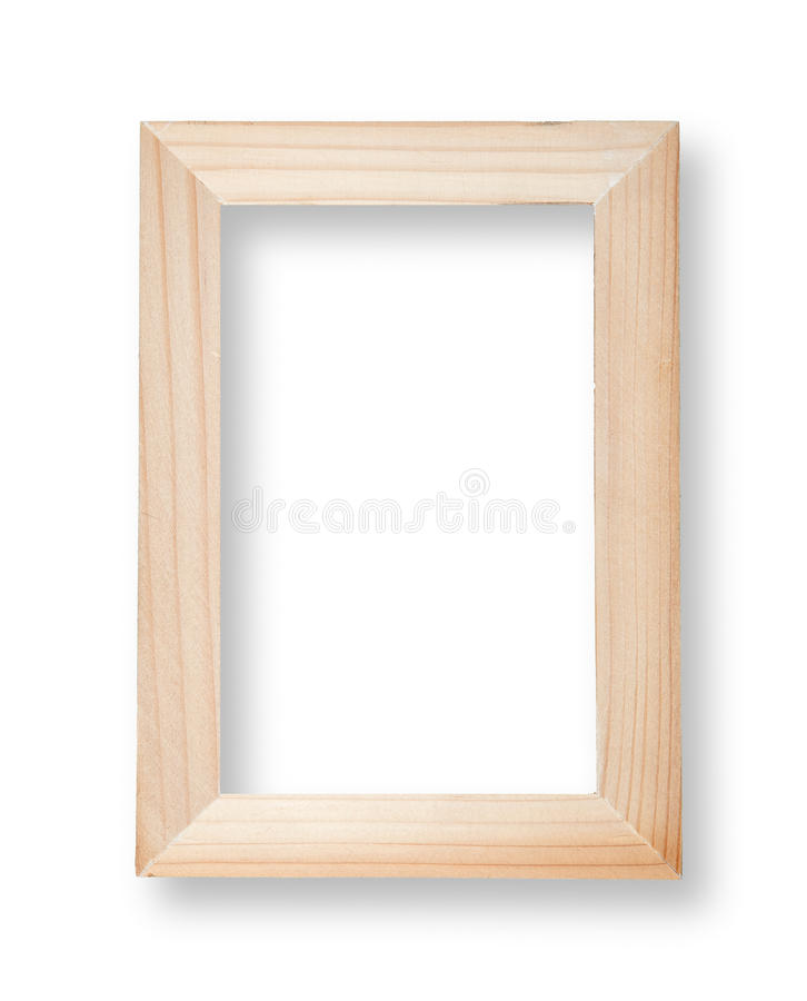 Wooden frame. On white with shadow royalty free stock photos