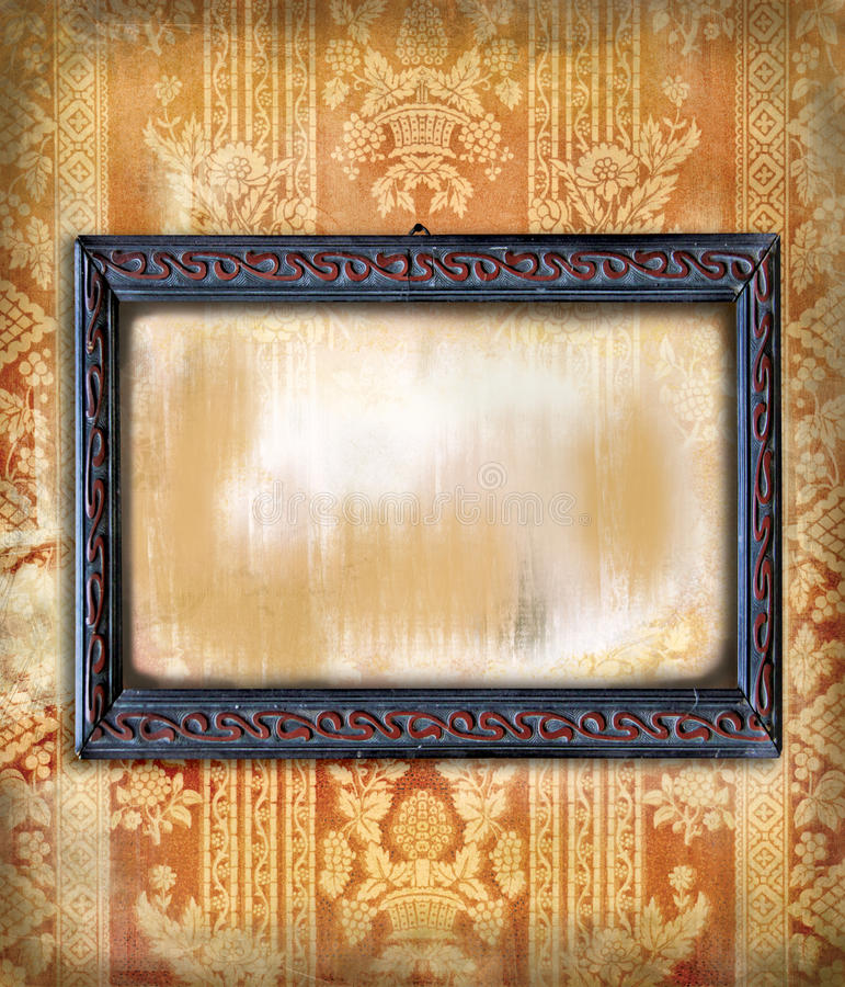 Wooden frame art deco on vintage wallpaper stock photo