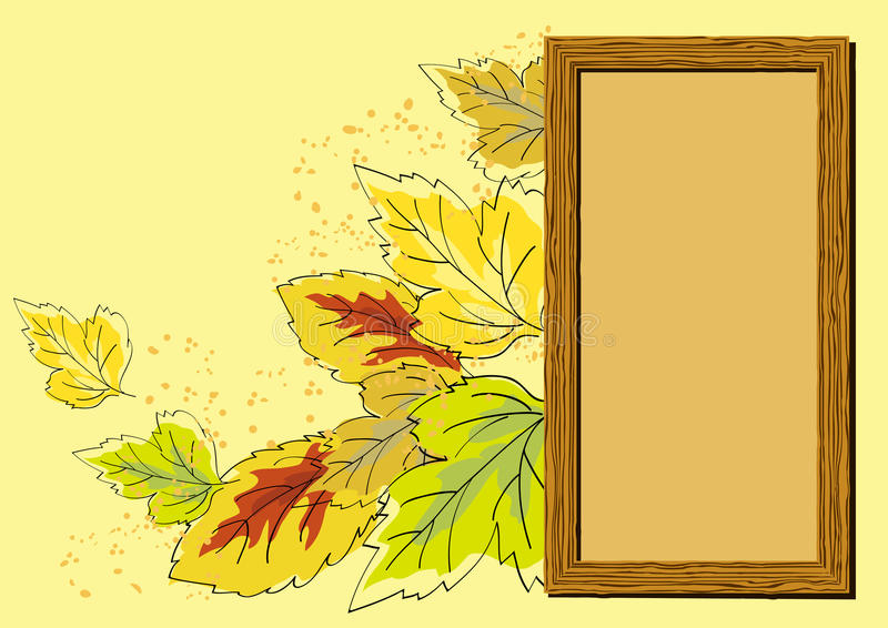 Download Wooden Frame And Autumn Leaves Stock Vector - Image: 21938861