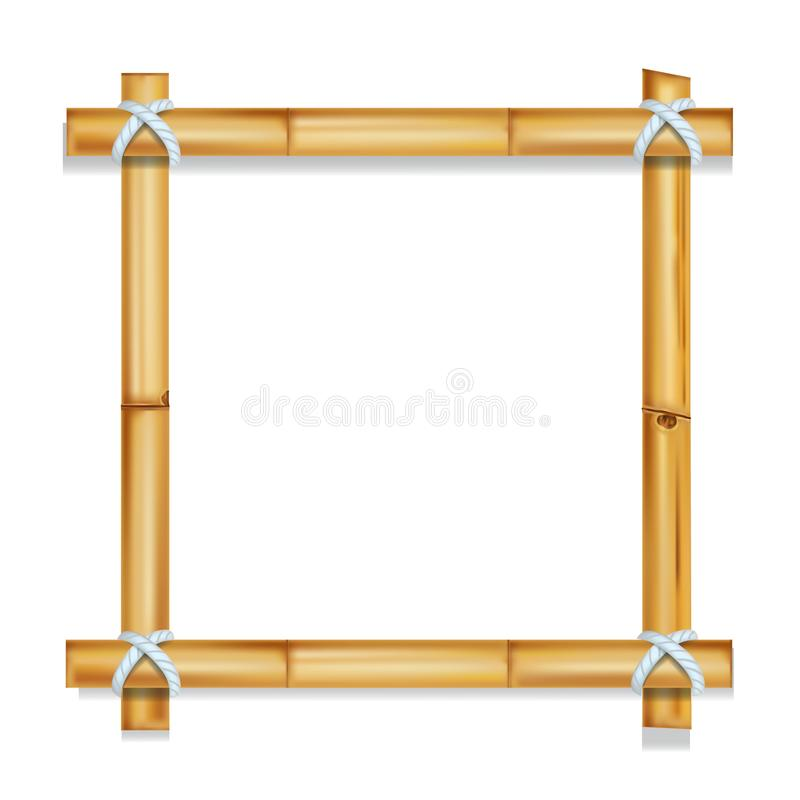 Wooden frame of bamboo sticks realistic isolated vector illustration stock illustration