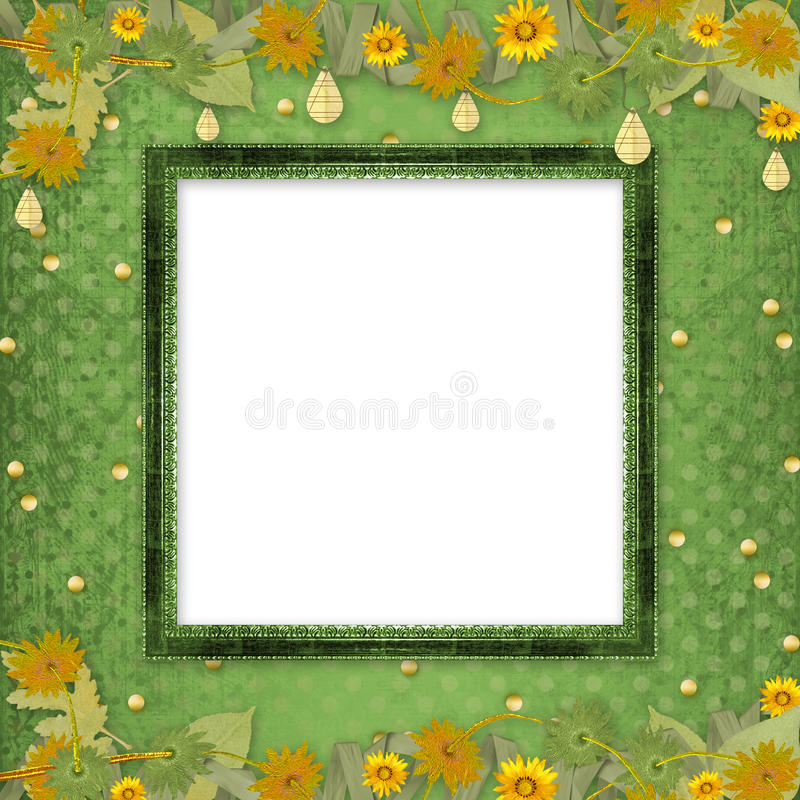 Download Wooden Frame With Bunch Of Flowers And Streamers Stock Illustration - Illustration of binding, blank: 12766683