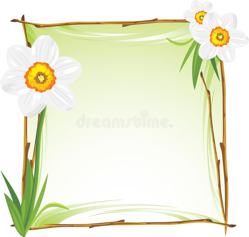 Wooden frame with daffodils