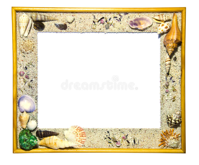 Wooden frame decorated with shells. Wooden frame decorated with shells on white background stock image